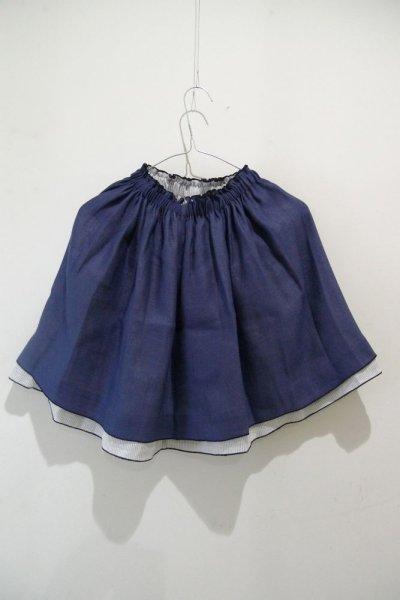 画像1: リバーシブル スカートE12/INDIGO-FINE RAY CLAIRES(6,8A) (1)