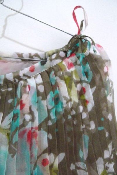画像1: プリーツ スカート/フラワープリント