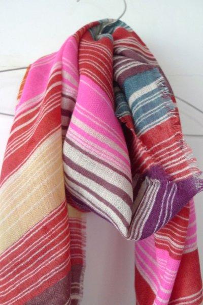 画像1: EPIS スカーフ WOOL100% (マルチストライプ)・F-RED