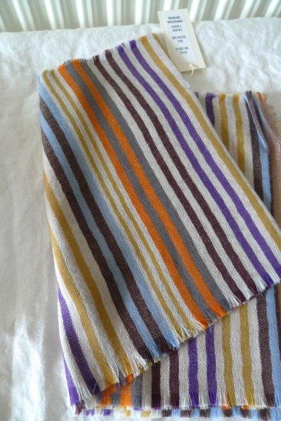 画像2: EPIS スカーフ WOOL100% (マルチストライプ)・F-WHEAT