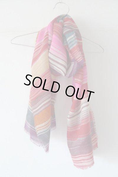 画像1: EPIS スカーフ WOOL100% (マルチストライプ)・F-RED (1)