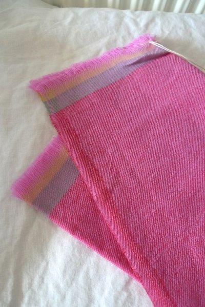 画像2: EPIS スカーフ WOOL100% (ライン)・L-PINK