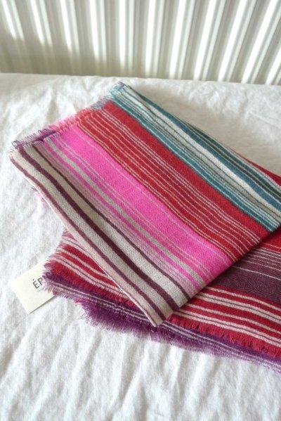 画像2: EPIS スカーフ WOOL100% (マルチストライプ)・F-RED