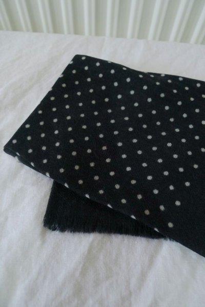 画像1: EPIS スカーフ/スクウェア WOOL100% (スモールドット)・J-BLACK