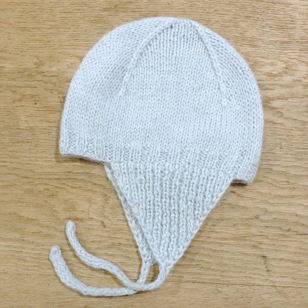 画像1: BONTON ニットアビエーター帽(T1:6〜12ヶ月位)/434 BLEU SACHA (1)