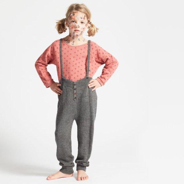 画像1: OEUF BABY-KIDS ニット・サスペンダーパンツ/DARK GREY(2,4才) (1)