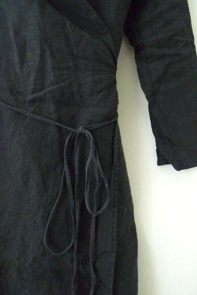 画像1: リネン・ワンピ・WRAP DRESS/CHARCOAL(S/Mのみ)